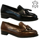 WOMENS LADIES REAL LEATHER FLAT CASUAL OFFICE WORK FRINGE TASSEL LOAFERS SHOES