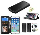 For Apple iPhone 6 6S Plus BLACK Credit Card Leather Flip Wallet Case Cover Book