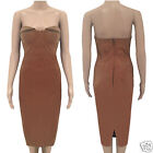 Womens Suede Bodycon Bustier Bandeau Cocktail Party Evening Ladies Midi Dress