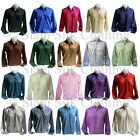 Mens Thai Silk Shirt Long Sleeve S M L XL 2XL 3XL Casual Formal Dress 20 Colors