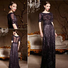 Purple Sparkly Sequins Evening Prom Bridesmaid Ball Wedding Gown Maxi Dress