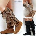 New Women FBy Tan Black Beige Fringe Moccasin Lace Up Western Knee High Boots