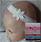 Beaded Star Flower on Double Frilled Lace Baby Headband- 13 colours options