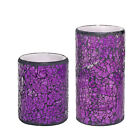 Battery Power Flickering Flame LED Candle Glass Mosaic Wax With Timer Home Decor