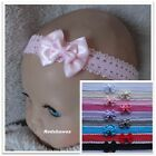 Double Satin Bow Baby Headband on frilled lace- different colour/sizes