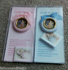 CRADLE MEDALLION Angel Christening New Baby Boy Plaque Medal Only Blue Available