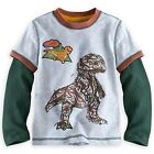 DISNEY STORE GOOD DINOSAUR LS DOUBLE-UP LAYERED TEE SHIRT BOYS T-REX RANCHERS
