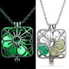 Square Hollow Luminous Pendant Necklace Glow In The Dark Locket Jewelry Gift