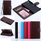 Flip Leather Wallet Photo Card Holder W/Strap Stand Case Cover Fr Sony Xperia Z5