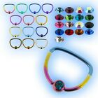 "Titanium Jewelled D Ring 1.6mm 14g x 16mm 5/8"" Nipple Piercing Choose Colours"