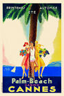 Vintage Art Deco French Travel Poster Cannes Palm Beach Casino Cote D'Azur 1920s