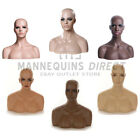 PREMIUM* FIBERGLASS FEMALE DISPLAY HEAD MANNEQUIN WITH SHOULDERS & HALF BUST