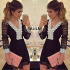 Fashion Women Lace Crochet V-Neck Club Party Evening Cocktail Bodycon Mini Dress