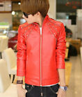 New Mens PU Leather Biker Jackets Slim Black Rivert Motorcycle Stand Collar Coat