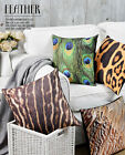 Colorful Leopard Grain Feather Pattern Pillow Case Decor Cushion Cover Square