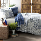 BEAUTIFUL MODERN REVERSIBLE BLUE WHITE GLOBAL EXOTIC MOROCCAN BOHEMIAN QUILT SET image