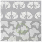 WHITE GREY FOX Butterfly100% COTTON FABRIC by meter EX WIDE 160CM 64""