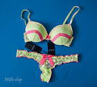 Guess Girly Yellow Lace Plunge Bra Set With Thong Bnwt 32-36 A-dd