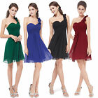 New One Shoulder Evening Bridesmaid Formal Party Prom Dress Gown Size 8 -18 UK