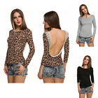 Women Leopard Long Sleeve T-shirt Lace Trimmed Boat Neck Backless Shirt Top