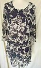 Adini Crushed polygeorgette tunic 3/4 Sleeves scoop neck 2 front hip pockets