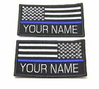CUSTOM NAME THIN BLUE LINE POLICE SWAT USA FLAG SEW ON PATCH 9X5.5 CM #P064