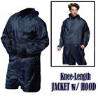 "Waterproof Long Hooded Rain Coat L XL 41"" to 46"" Country Jacket Knee Length Hunt"