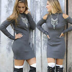 Womens Cowl Neck Off Shoulder Long Sleeve Sweater Jumper Knit Bodycon Mini Dress