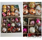 GLASS vtg 1950s LOT 24 BOXED CHRISTMAS TREE DECORATIONS BAUBLES 3D BELLS FLORAL