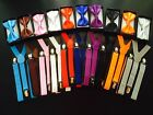 Men Women Elastic Suspenders & Bow Tie Matching Set Tuxedo Suit Unisex Bowtie