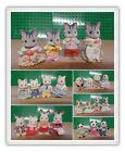 sylvanian families  stripped cat dog panda  spotty dog cat white rabbit families