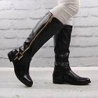 Womens Black Faux Leather Flat Round Toe Riding Boot Ladies Gold Zip Knee High