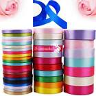 25YD Satin Ribbon 6mm 15mm 25mm Multi Craft Wedding Supplies Flower Fabric Party