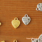 """8pcs: Mini Puffed Heart Charm """"Made with Love"""" Carved Antique & Gold Pendant DIY"""