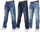 Neu Herren Designer Crosshatch Denim Regular Fit Hose Jeans Mit Gratis Gürtel