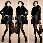New Winter Warm Women Faux Fur Collar Coat Leather Jacket Parka Overcoat Outwear