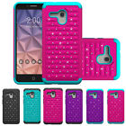Hybrid Rugged Rubber Bling Crystal Case Cover for Alcatel One Touch Fierce XL