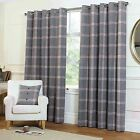 Rapport Grey Natural Highland Plaid Tartan Check Wool Feel Eyelet Curtains