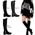 WOMENS LADIES FLAT LOW HEEL OVER THE KNEE HIGH STRETCH BLACK LEATHER BOOTS SIZE