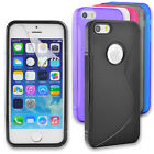 S Line Soft TPU Gel Back Case Skin Cover for Apple iPhone SE 5S 5 + Screen Guard