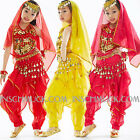 K16 CHILDREN'S Belly Dancing Costume Top & Pants & Head veil and chain Huefttuch