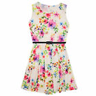 Girls christmas Dresss Kids Party Dresses Sleeveless Floral print New 7-13 Years