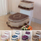 New Warmer Bathroom Set Toilet Seat Pad Tank Lid Top Cover Comfy Lace Toilet 3PC