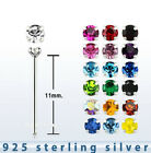 2pcs. 22g-1.25mm Round C.Z. Prong Set .925 Sterling Silver Straight Nose Stud