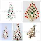 Christmas Xmas Brooch Sparkling Diamante Tree Broach Pins Gift Party Pin Lapel