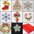 Xmas Christmas Brooches Broach Star Snowflake Santa Diamante Party Gift FREE BOX