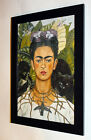 Frida Kahlo painting Self-Portrait with Necklace canvas print framed 7X9&10X13