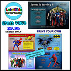 SUPERHEROES PERSONALISED BIRTHDAY PARTY INVITATIONS PRINT YOUR OWN SERVICE
