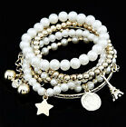 New Fashion Womens Jewelry Gold Metal Pearl Multilayer Pendant Bracelet