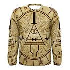 New Gravity Falls Bill Cipher Sublimated Men's Long Sleeve T-shirt S - 3xl